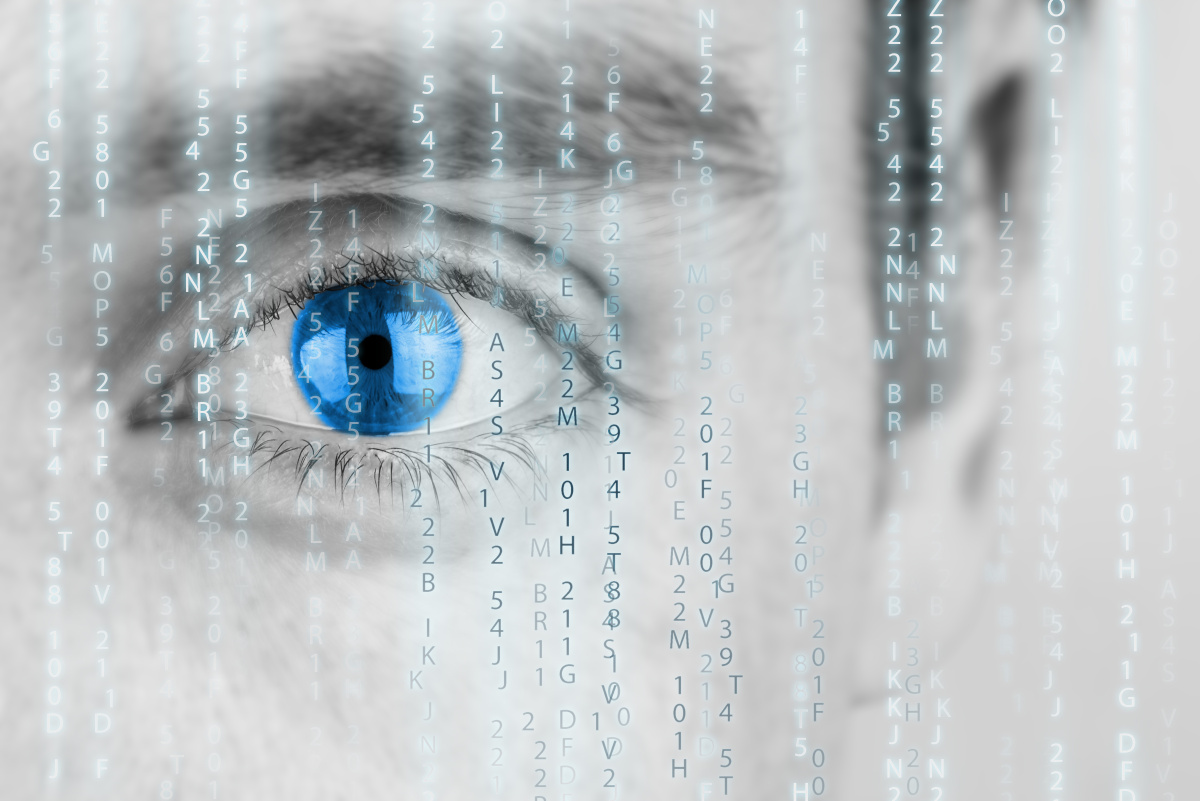Futuristic image with human eye watching binary code, remote monitoring concept.